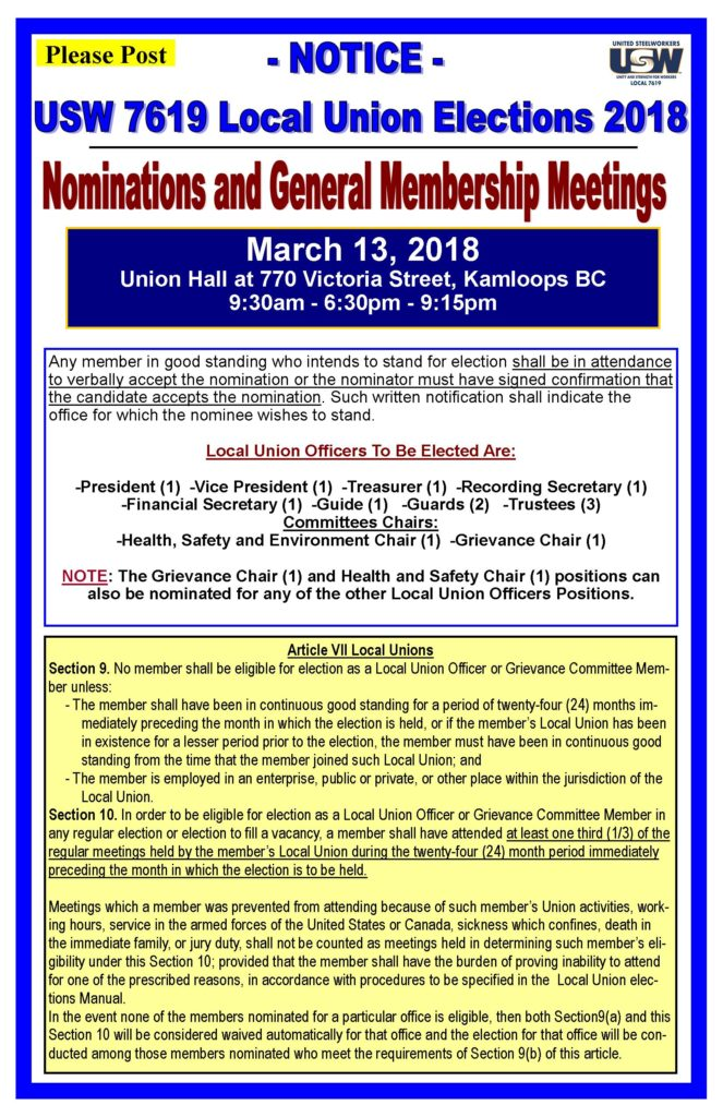 Local 7619 Elections 2018